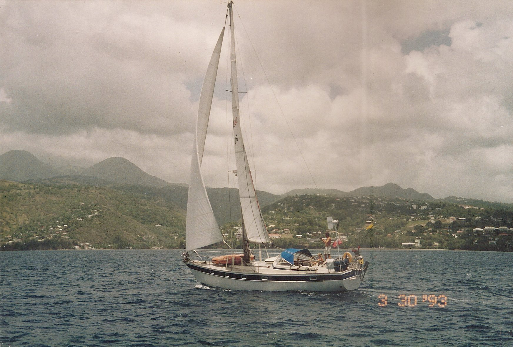 Sailing off Martinique in the Caribbean